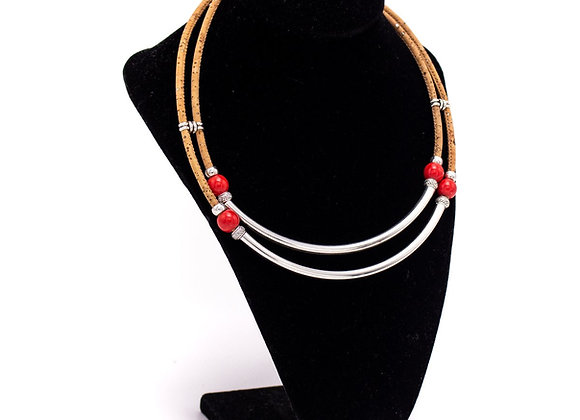 Cork Necklace with Silver Tube and Ceramic Beads