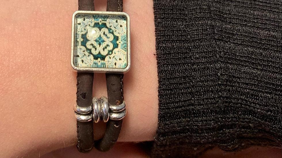 Brown Natural Cork Bracelet with Ceramic Green Tile