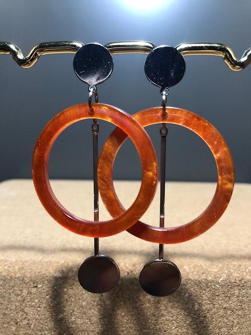 Resin Circle and Metal Pendulum Stud Earrings