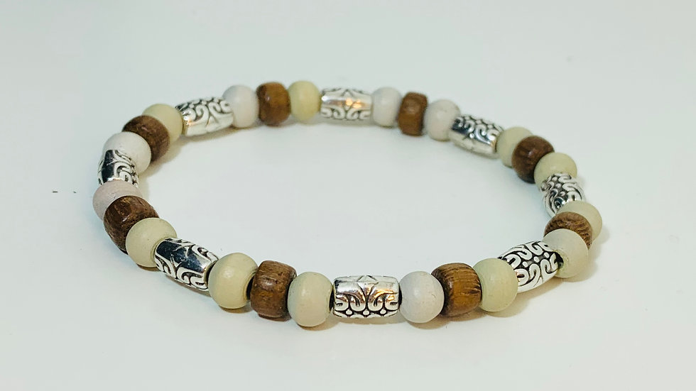 Natural 2 colour Wood Bead Stretch Bracelet with silver deco beads