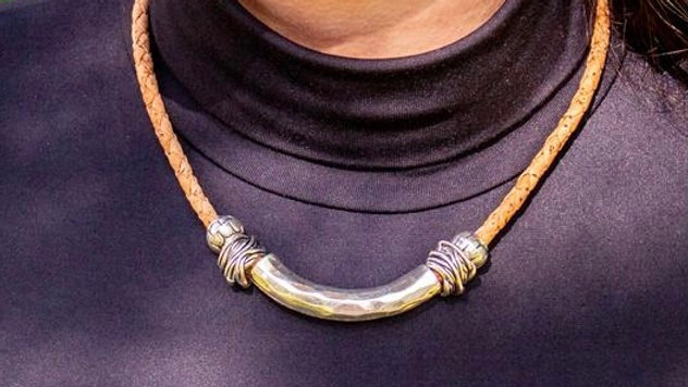 Silver Antique Chunky Cork Necklace