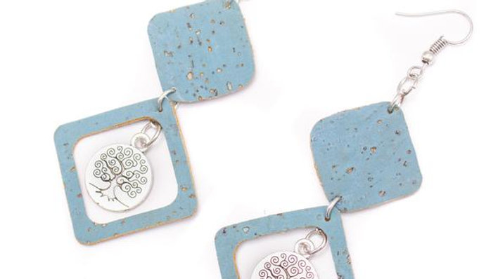 Cork Earrings Blue Diamond Cork Shapes with Silver Tree of Life