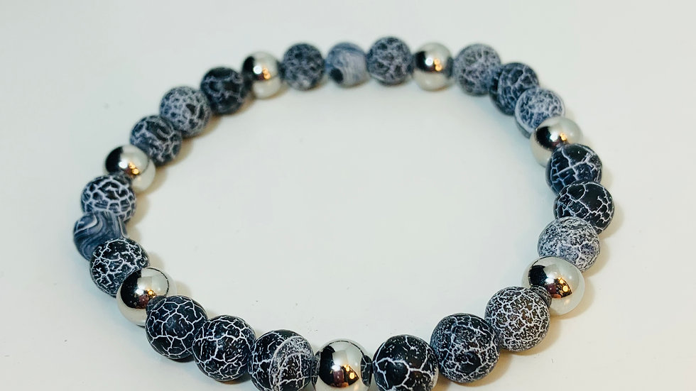 Natural Cracked Blue Grey Agate Stone and Silver Bead Stretch Bracelet