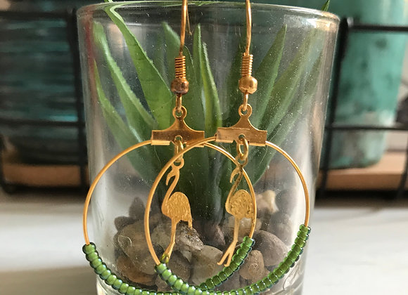 Gold Hoop with Green Glass Beads and Gold Flamingo Charms