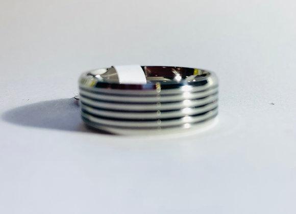 Stainless Steel Black and Silver Horizontal Stripe Pattern Ring
