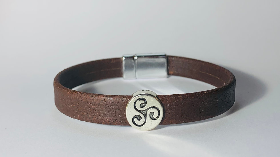 Brown Natural Cork Bracelet Silver Slider with Strong Lock Clasp