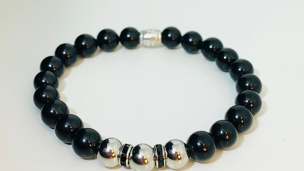 Stunning Black Obsidian Stone Stretch Bracelet + Silver Bead and Black Swarovski