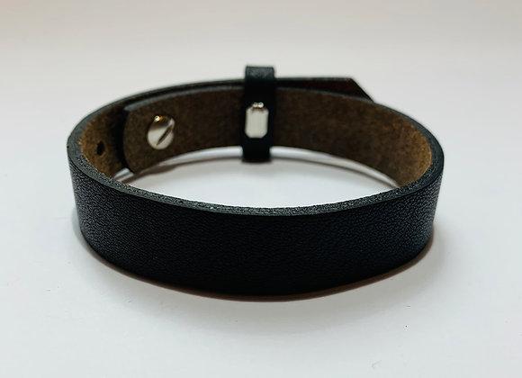 Adjustable Black Leather Bracelet