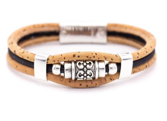 Handmade natural cork bracelet with silver deco bead fittings