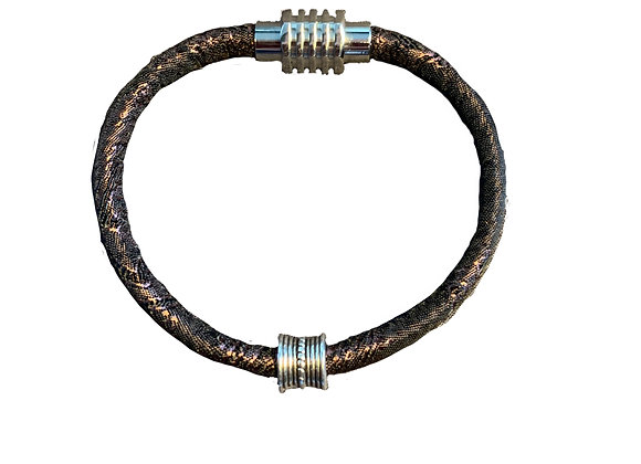 Brown Stitched Trendy Cord Bracelet with Slider + Stainless Steel Clasp
