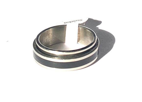 Stainless Steel and Black Rotating Ring