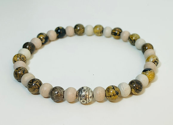 Cream Wood and Agate Stone Bead Stretch Bracelet