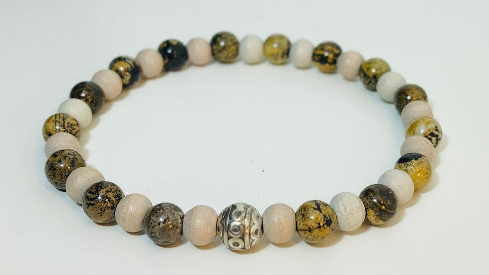 Cream Wood and Agate Stone Bead Stretch Bracelet