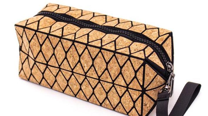 Natural Cork Trendy Geometric Washbag/Make-up Bag
