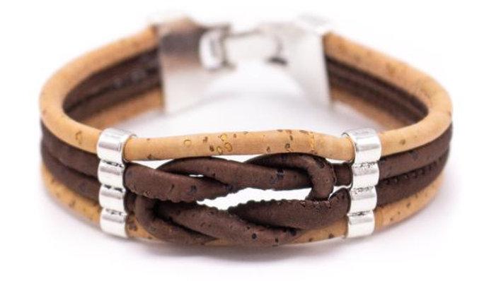 Handmade two tone natural dark cork infinity knot bracelet