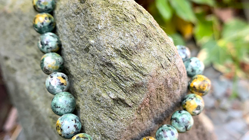 Speckled Duck Egg Agate Stone Stretch Bracelet with Silver Decorative Bead