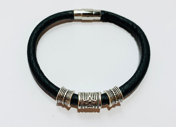 Black Faux Leather Bracelet with Charms and Stainless Steel Clasp