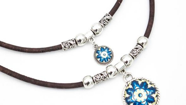 Natural Cork Necklace with Silver Beads and Blue Portuguese Ceramic Pendant