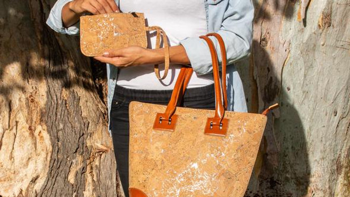 Natural Cork and Vegan Leather Tote Bag with purse