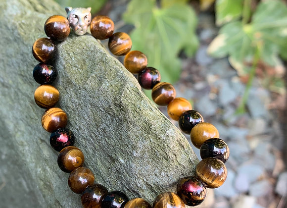 Tigers Eye Gloss Stone Stretch Bracelet with Tiger Head Bead