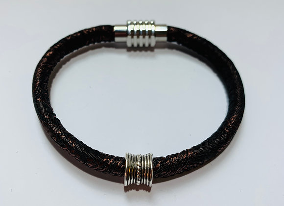 Brown Stitched Trendy Cord Bracelet with Slider and Stainless Steel Clasp