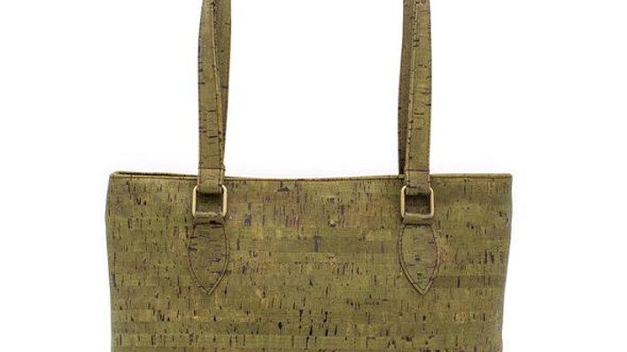 Natural Cork Green Tote Bag