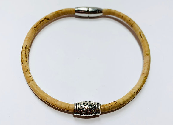 Natural Cork Bracelet with Decorative Slider