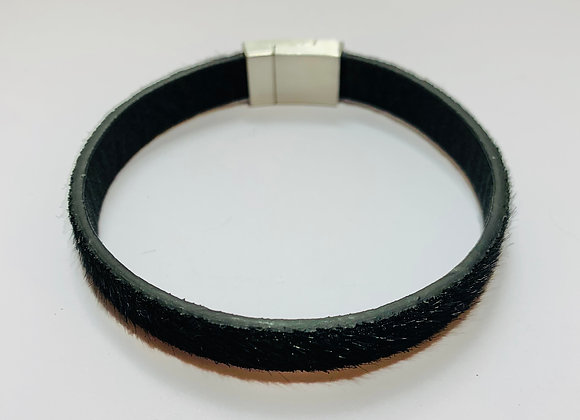 Black Faux Leather Bracelet with Stainless Steel Magnetic Clasp