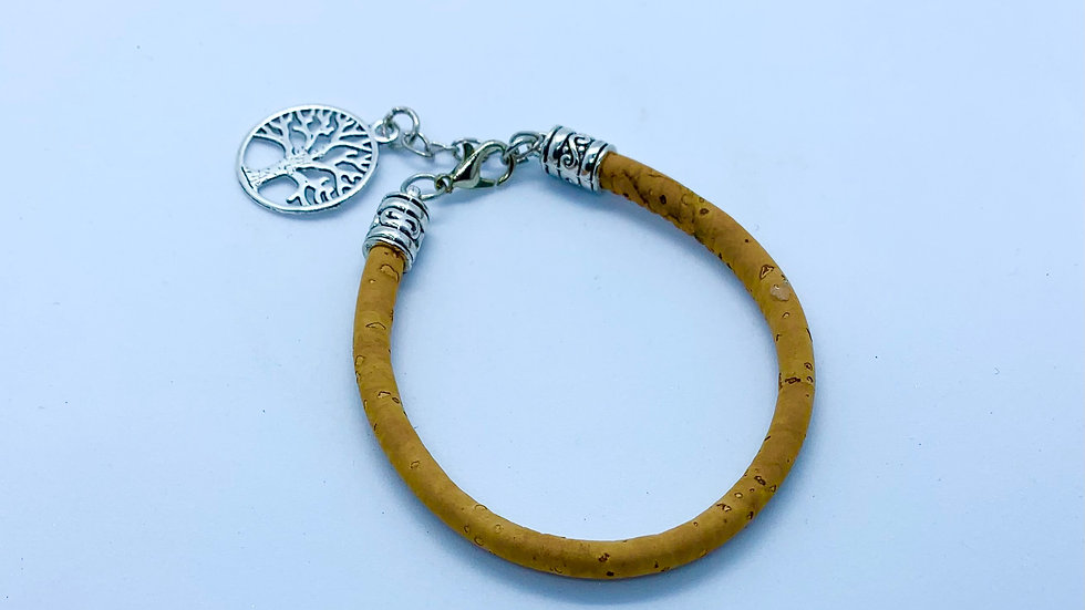 Natural Cork Bracelet with Tree of Life Charm