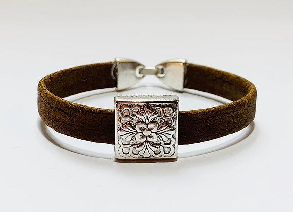 Brown Natural Cork Bracelet with Silver Decorative Slider