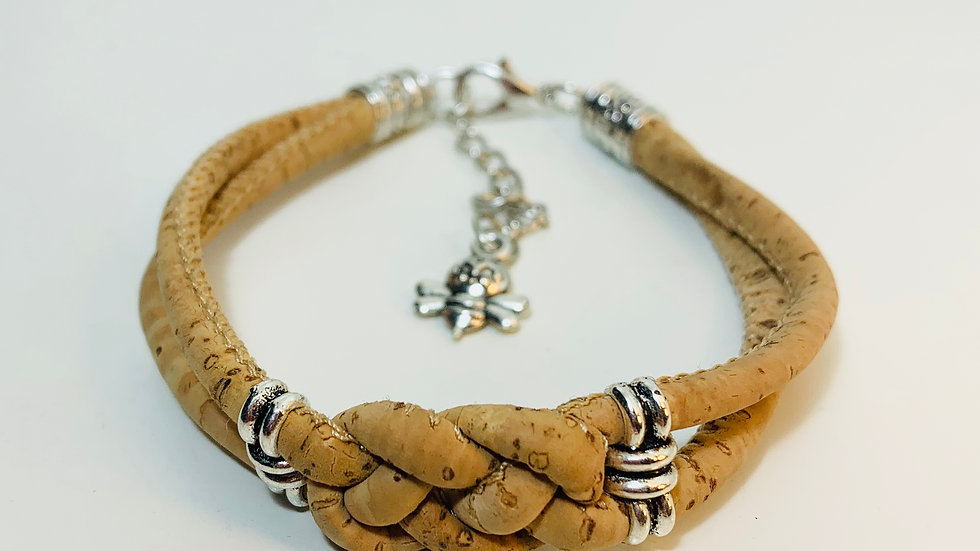 Natural Double Cork Bracelet with Double Infinity Knot and Silver Sliders