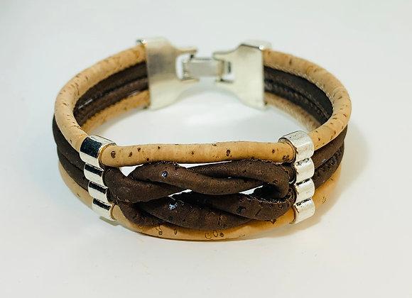 Handmade 2 Colour cork bracelet with infinity knot