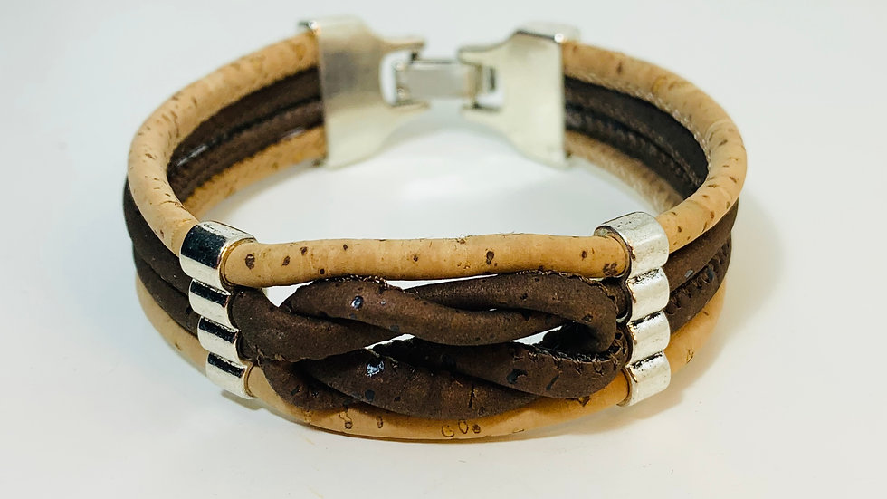 Handmade 2 Colour cork bracelet with infinity knot