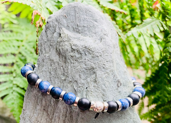 Blue Agate and Black Obsidian Stone Stretch Bracelet with Silver Decorative Bead