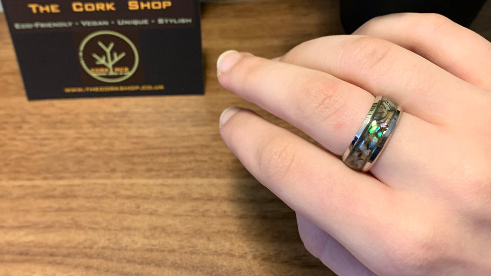 Stainless Steel and Abalone Stone Ring