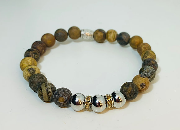 Stunning Matt Tiger Eye Stone Stretch Bracelet with Swarovski Deco