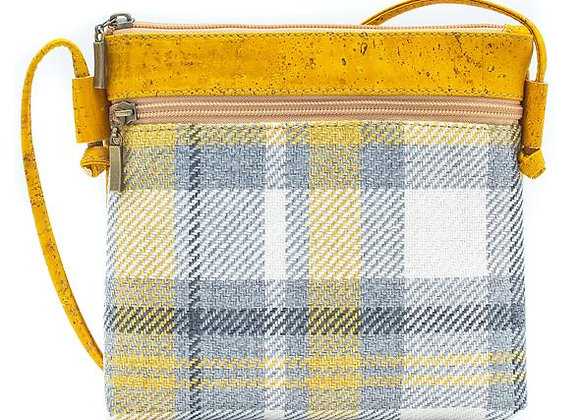 Fresh Checkered Cork and Cotton Sling Bag
