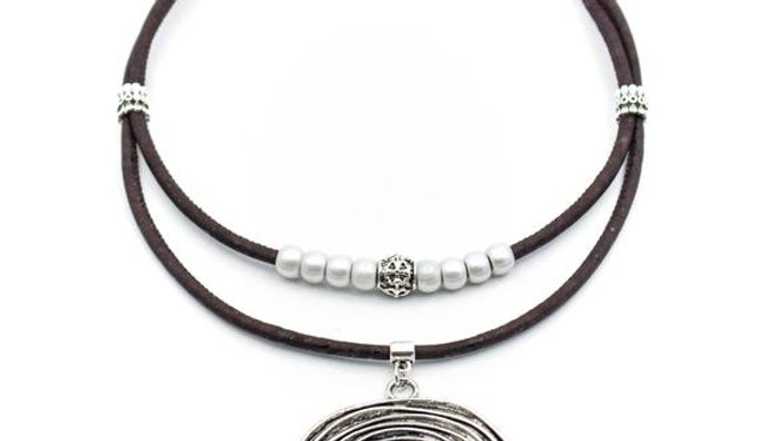 Cork Necklace with Silver Beads and Pendant