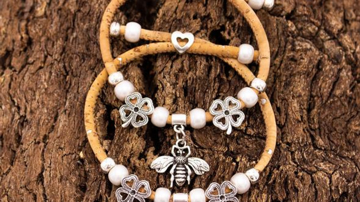 Handmade natural cork bracelet with silver deco bead fittings and Bee or Star