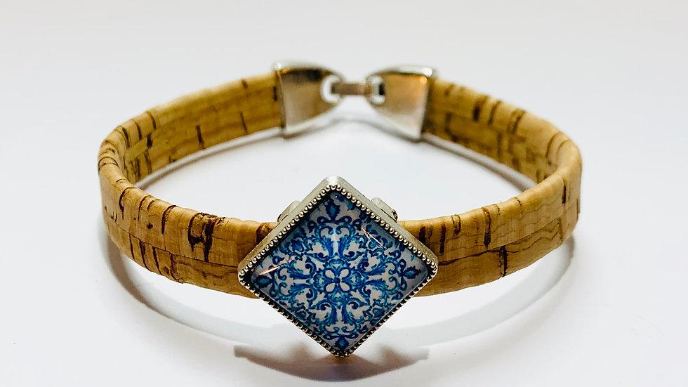 Natural Cork Bracelet with Blue Portuguese Tile Slider