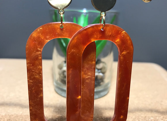 Large Resin Oval Stud Earrings