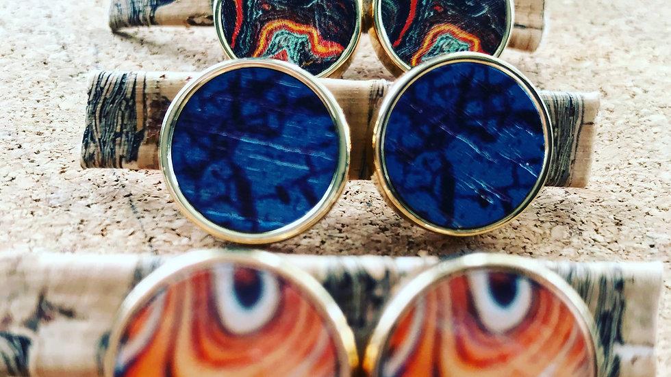 Round Printed Wood Stud Earrings