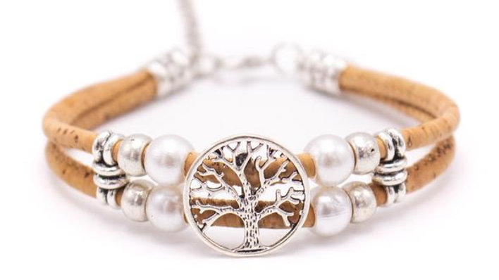 Handmade natural cork bracelet with silver deco bead fittings and Tree of Life