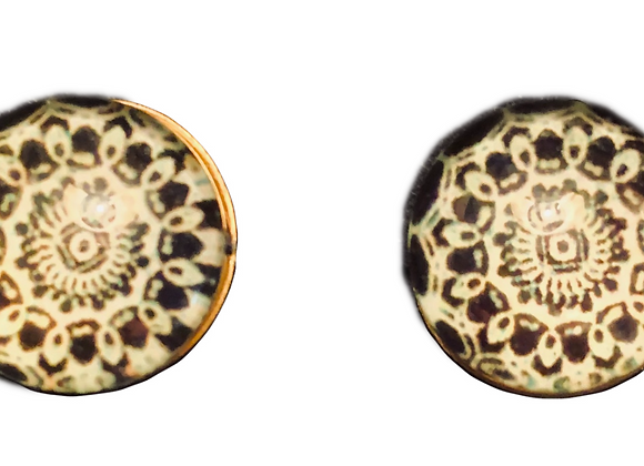 Resin Black Mandala Pattern Stud Earrings