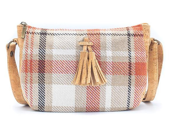 Tassel Checkered Cork and Cotton Sling Bag