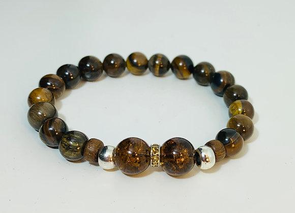 Stunning Tiger Eye Stone and Glass Bead Stretch Bracelet with Swarovski Deco