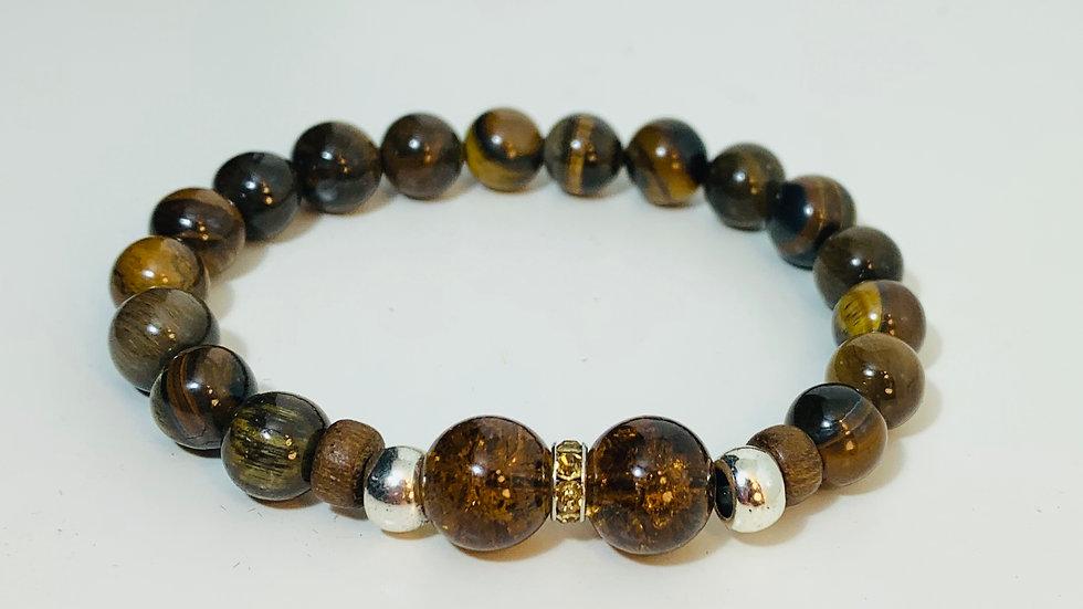 Tiger Eye Stone and Glass Bead Stretch Bracelet