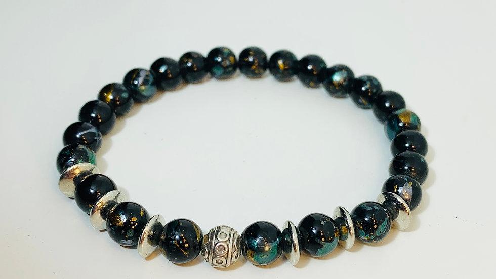 Petrol Blue Glass Bead and Silver Stretch Bracelet