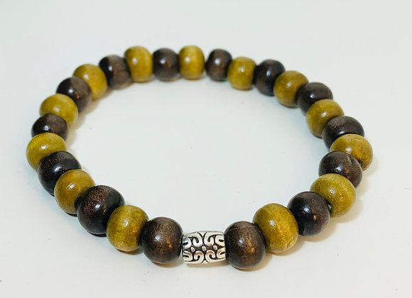 Natural two colour wood Bead Stretch Bracelet