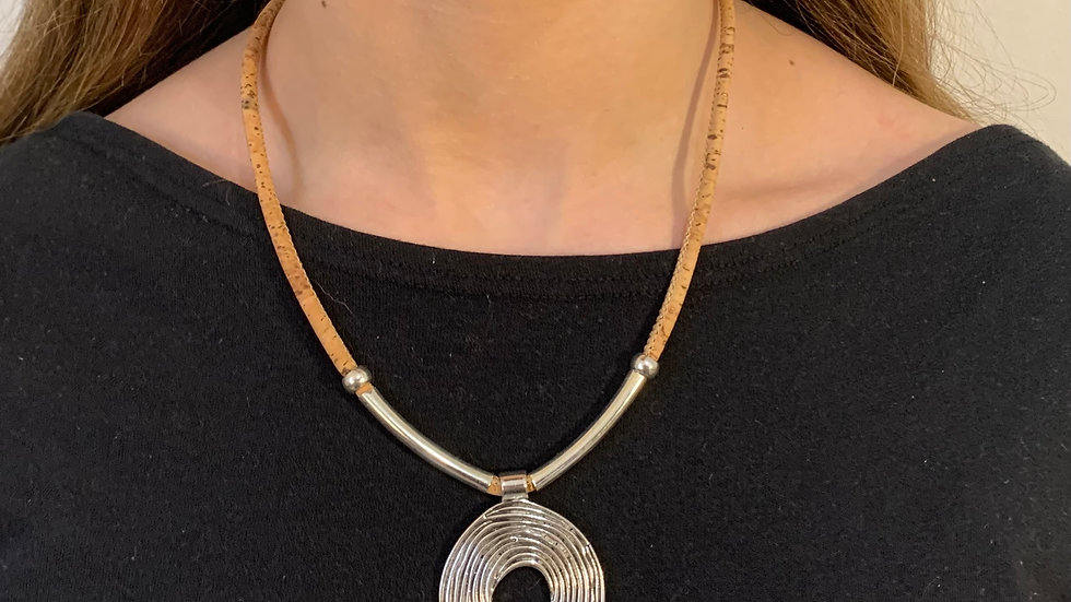 Cork Necklace with Silver Tube and Circle Pendant
